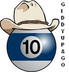 -Blue-And-White-10-Billiards-Ball-Wearing-A-Cowboy-Hat-Giddy Up and Go