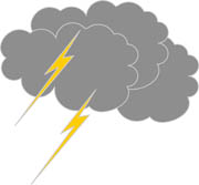 Gray Cloud and Lightning Clipart