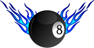 8 Ball with blue flames on each side