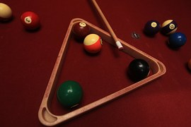Pool stick, balls and rack
